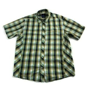 prAna Shirt Pearl Snap Green Blue Black Organic